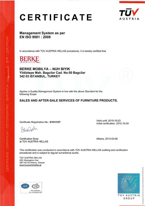 Berke Mobilya İSO 9001 - 2008 Belgesi